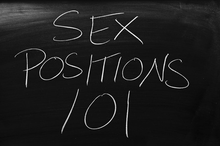 The words Sex Positions 101 on a blackboard in chalk