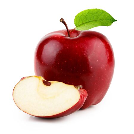 Photo for Red apple with slice and leaf isolated on white background - Royalty Free Image