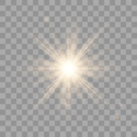 Illustration for Golden shining vector sun with transparent rays. Yellow detonation effect. Sun flash with rays and spotlight. Star burst with sparkles on transparent background. - Royalty Free Image