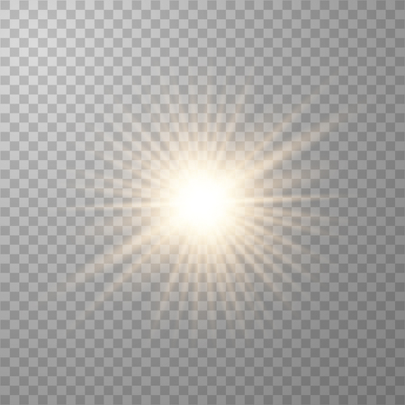 Illustration for Gold beautiful light explodes with a transparent explosion. Vector, bright illustration for perfect effect with sparkles. Transparent shine of the gloss gradient, bright flash. - Royalty Free Image