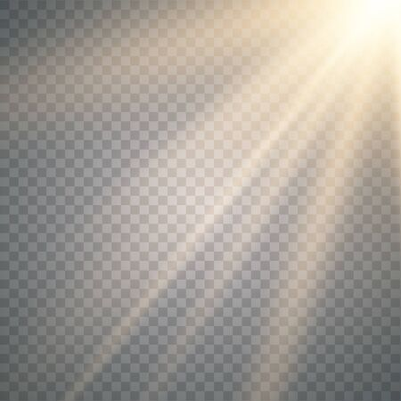 Illustration for Vector transparent sunlight special lens flash light effect. Vector blur in the light of radiance.Sun - Royalty Free Image