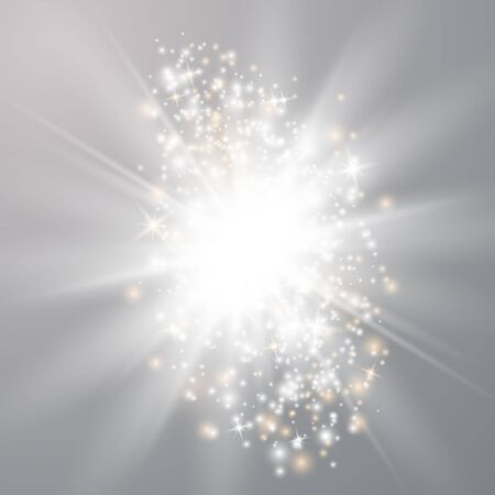 Illustration for Glowing lights effects isolated on transparent background. Sun flash with rays and spotlight. Special effect isolated on transparent background. - Royalty Free Image