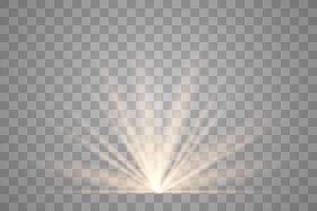 Illustration for Light flare special effect with rays of light and magic sparkles. Glow transparent vector light effect. Sun. - Royalty Free Image