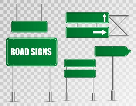Illustration for Set of road signs isolated on transparent background. Vector illustration. - Royalty Free Image