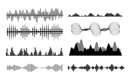 Illustration pour Black sound waves. Music audio frequency, voice line waveform, electronic radio signal, volume level symbol. Vector illustration - image libre de droit