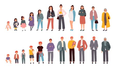 Illustration for Stages of aging men and women. People of different ages. Vector illustration in cartoon style - Royalty Free Image