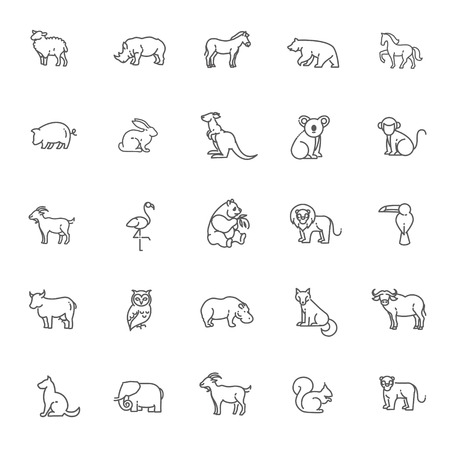 Ilustración de animal icons. vector outline icon set - Imagen libre de derechos