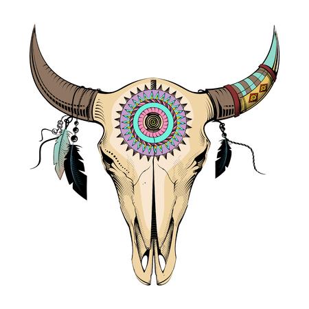 Illustration pour Ethnic style, engraving illustration bull skull - image libre de droit