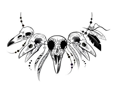 Illustration pour Raven Sugar Mexican Skull. Raven Skull. Vector illustration - image libre de droit