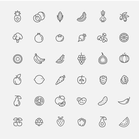 Foto für Fruit and Vegetables line icon set - Lizenzfreies Bild