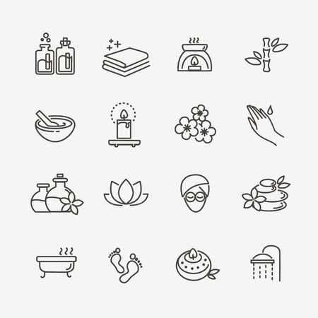 Ilustración de vector line web icon set - Spa and Beauty - Imagen libre de derechos