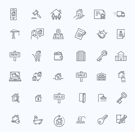 line web icons set - Real Estate.
