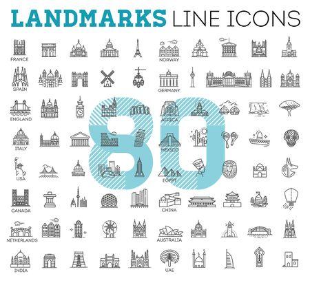Illustration pour Simple linear Vector icon set representing global tourist landmarks and travel destinations for vacations - image libre de droit