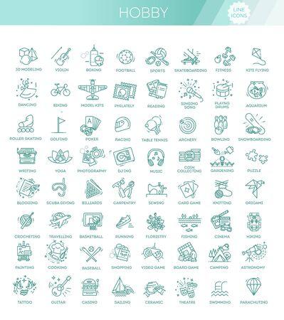 Illustration pour Hobbies and interest detailed line icons - image libre de droit