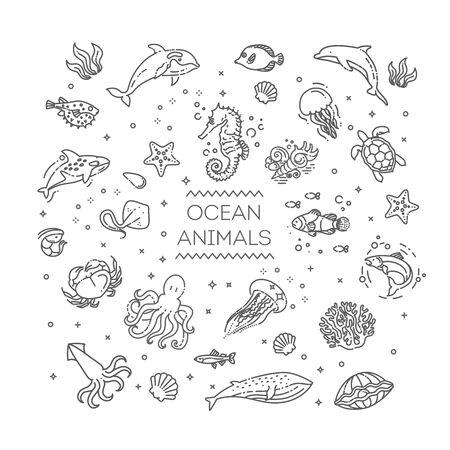 Illustration pour Marine life. Underwater fauna. Aquatic creatures - image libre de droit