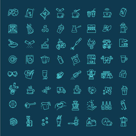 Illustration for Coffee vector icons set. Thin line design - Royalty Free Image