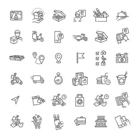 Illustration pour Set of Food Delivery Vector Line Icons - image libre de droit