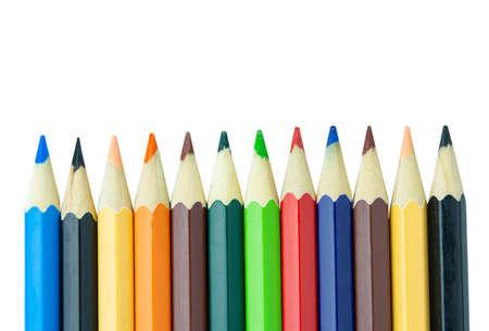 Foto de Colored pencils isolated on white background - Imagen libre de derechos