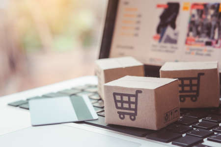 Photo for Shopping online. Credit card and cardboard box with a shopping cart logo on laptop keyboard. Shopping service on The online web. offers home delivery - Royalty Free Image