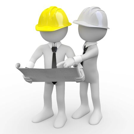 Photo for Chief architect looking at plans while another architect gives explanations - Royalty Free Image