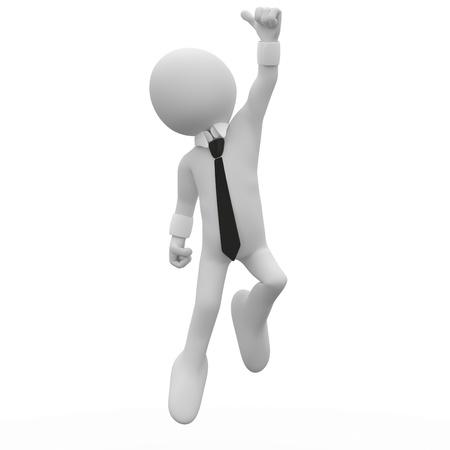 Photo pour Businessman jumping for joy, with the thumb up - image libre de droit