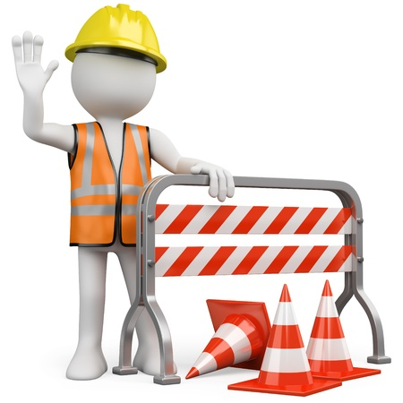 Photo pour Worker with a reflective vest and hard hat leaning on a construction barrier - image libre de droit