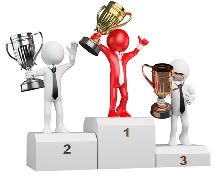 3d white business person on the the podium with trophies  3d image  Isolated white background  Business people on the podium