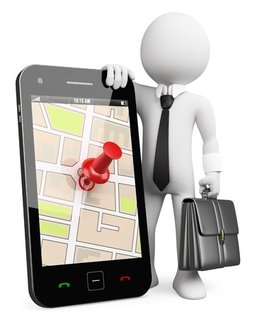 3d white business person with a mobile phone running a GPS application . 3d image. Isolated white background.