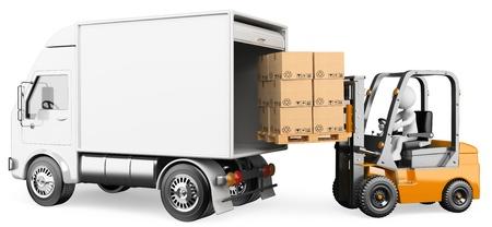 Foto de 3d white person loading a truck with a forklift truck . 3d image. Isolated white background.  - Imagen libre de derechos