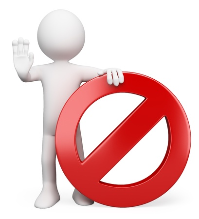 3d white person with a forbidden sign ordering to stop. 3d image. Isolated white background.
