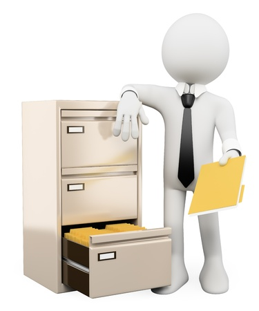 Photo pour 3d white person sorting and filing folders in a file cabinet. Isolated white background.  - image libre de droit