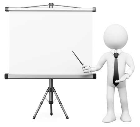 Photo pour 3d white business person showing a projection screen. Isolated white background. - image libre de droit