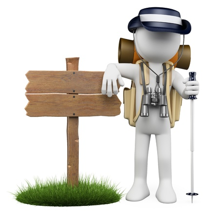 3d white hiker leaning in a wooden sign with rain hat, backpack, stick and binoculars. Isolated white background.