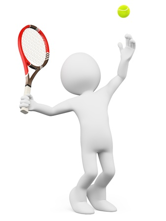 3d white person serving in a tennis match. Isolated white background.