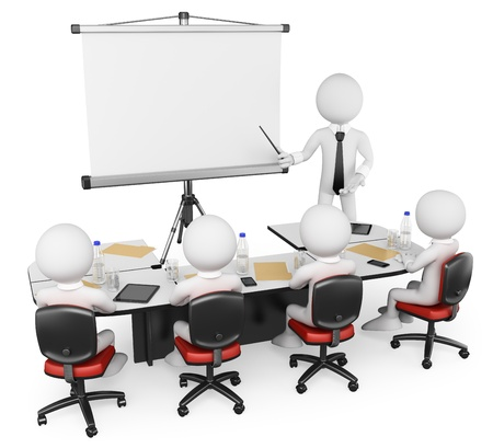3d white business persons at a workshop. Presentation. Isolated white background.