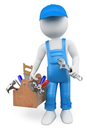 3D white people. Handyman with a toolbox and a wrench. Isolated white background.