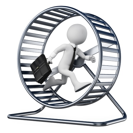 3d white people  Businessman in a hamster wheel  Isolated white background