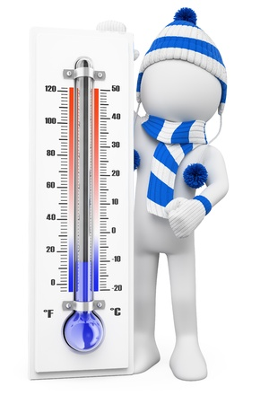 3d white people. Thermometer in winter cold days. Isolated white background