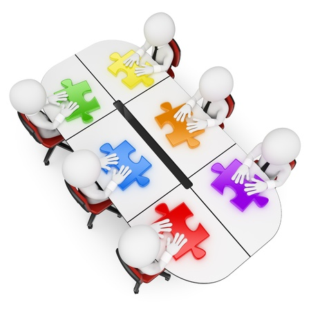 3d white business people. Teamwork in a business meeting looking for the best solution. Isolated white background.