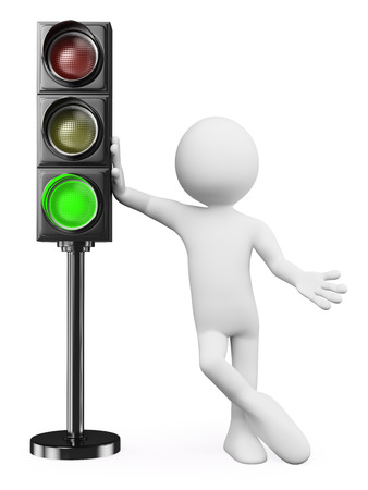 3d white people. Man leaning on a green traffic light. Isolated white background.
