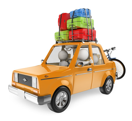 3d white people. Family goes on holiday by car with suitcases on car roof. Isolated white background.