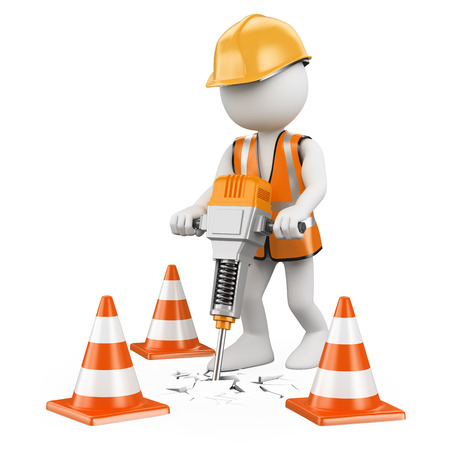 3d white people. Worker with a jackhammer working on a construction. Isolated white background.