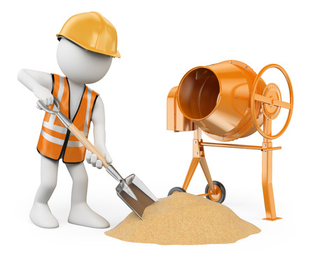 3d white people. Construction worker with a shovel and a concrete mixer making cement . Isolated white background.