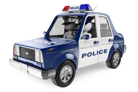 3d white people. Policemen patrolling in a police car. Isolated white background.