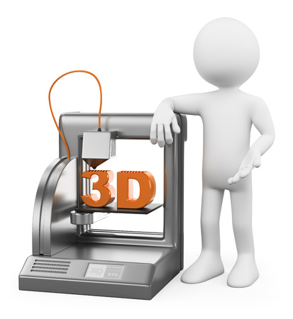 3d white people. 3D printer fused deposition working. Isolated white background.