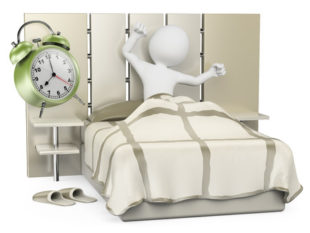 3d white people. Man waking up in the morning to go to work. Isolated white background.