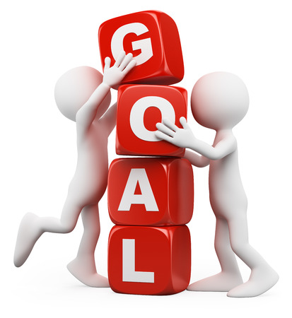 3d white people. Men stacking cubes with the word goal. Isolated white background.