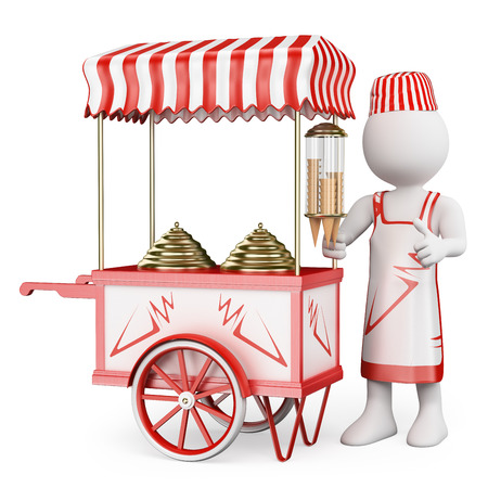 3d white people. Ice cream vendor with a traditional ice cream cart. Isolated white background.