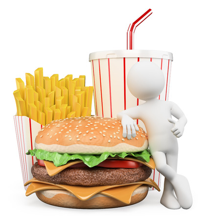 3d white people. Fast food. Hamburger with fries and drink. Isolated white background.