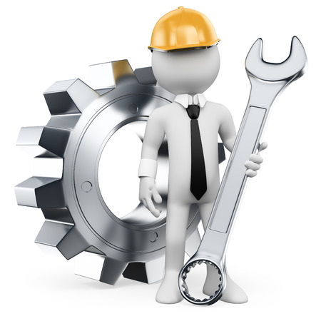 3d white people. Mechanical Engineer with a combination wrench and gear. Isolated white background.